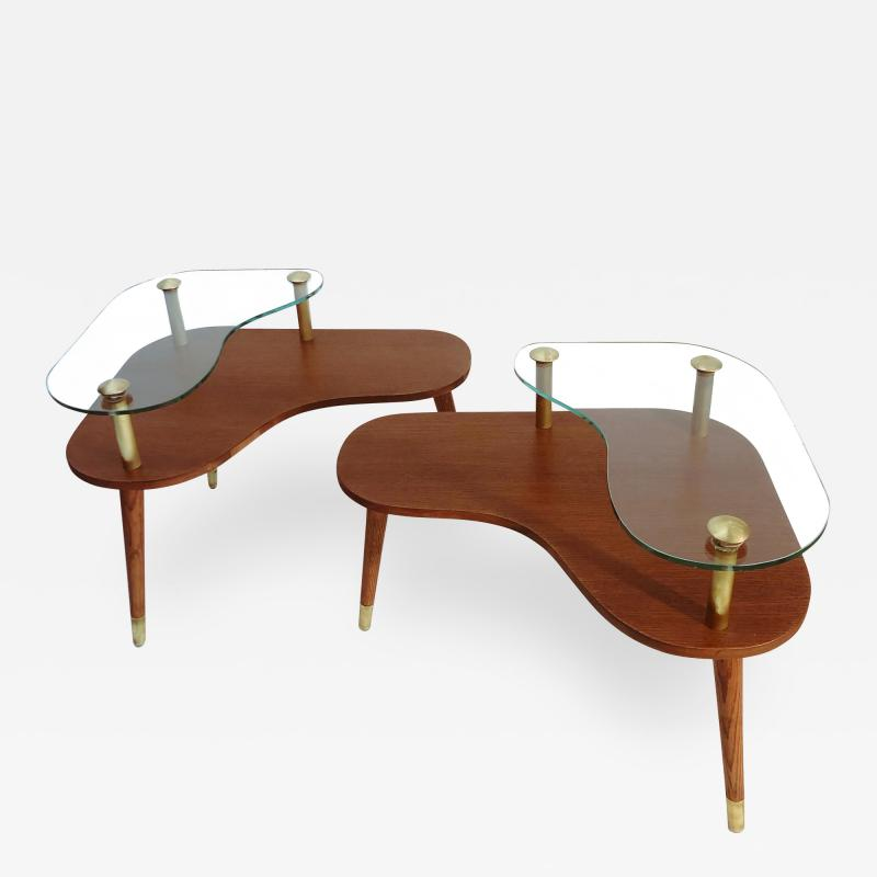 Pair of Sculptural Mid Century Modern side Tables