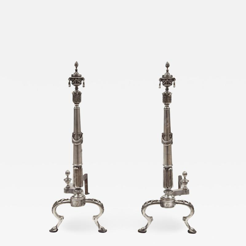 Pair of Silver Plate Andirons