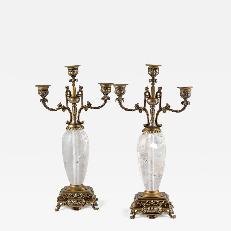 Pair of Silvered and Gilt Bronze Rock Crystal Three Light Candelabra