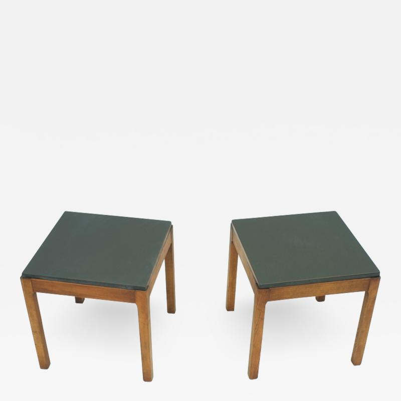 Pair of Slate and Wood Side Tables 1950s