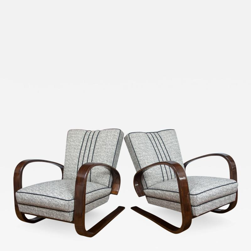 Pair of Sleek Mid Century Halabala Style Lounge Chairs