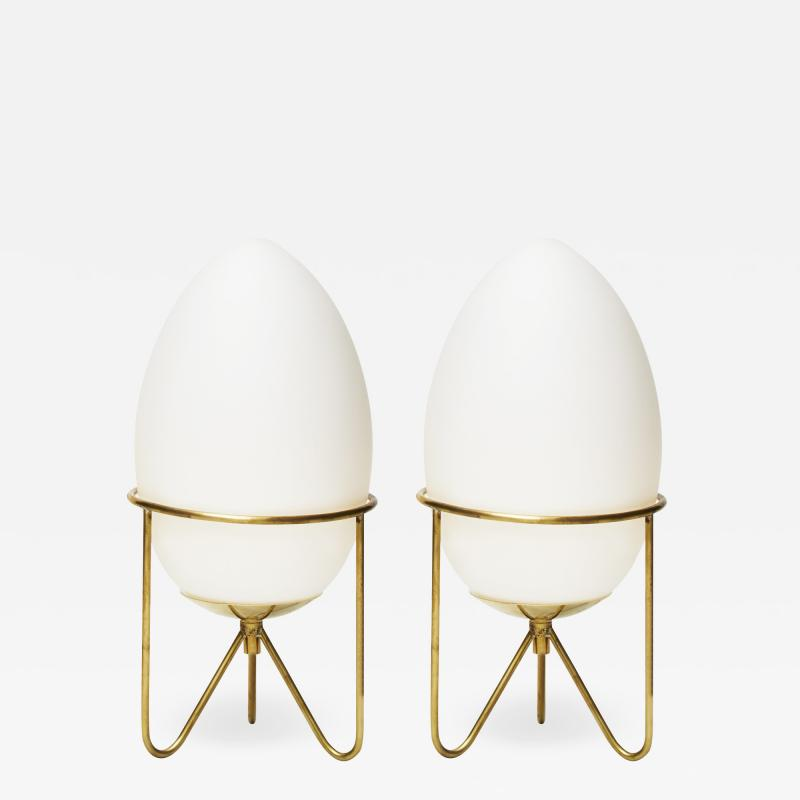 Pair of Small Eggs Looking Table Lamps with Brass Feet