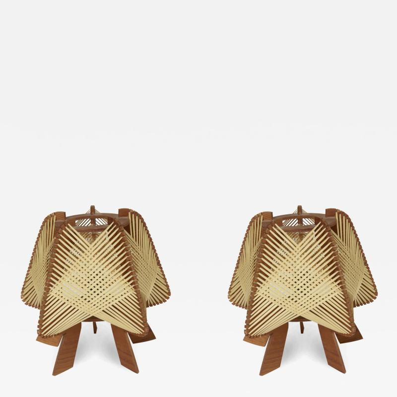 Pair of Small Wood and Ropes Table Lamps