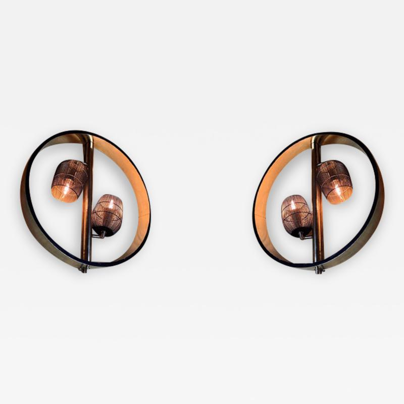 Pair of Space Age Round Brass Sconces with Adjustable Black Iron Lampshades