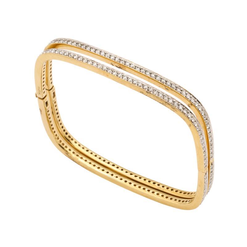 Pair of Square shape Diamond Bangle Bracelets