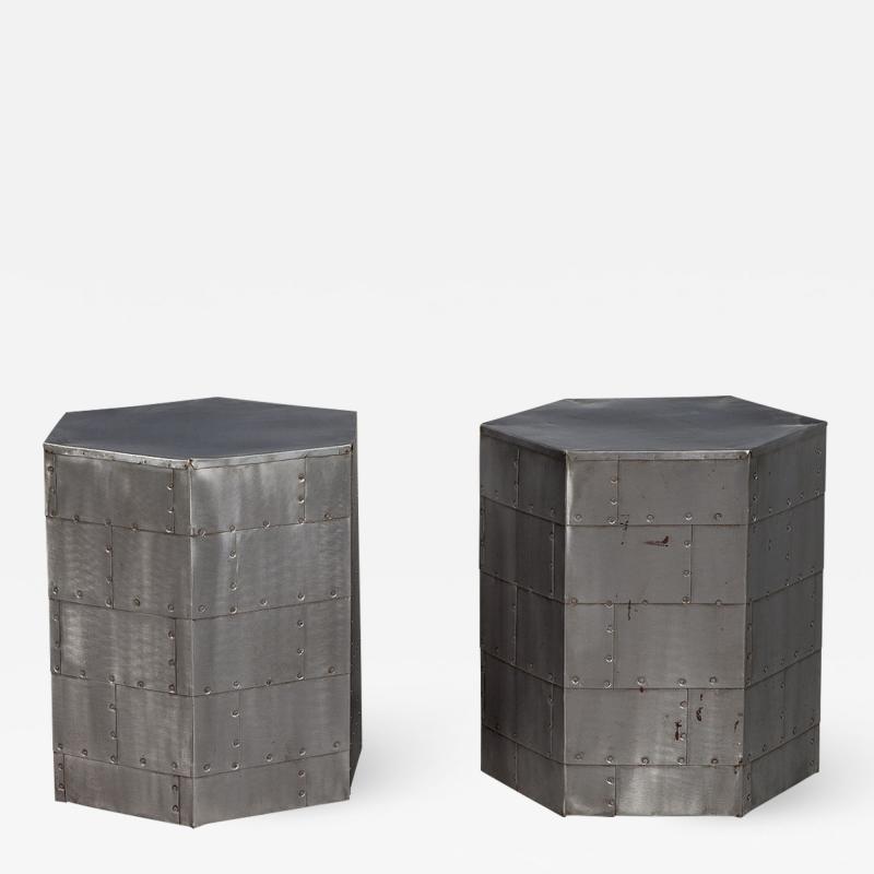 Pair of Steel Industrial Hexagon End Tables