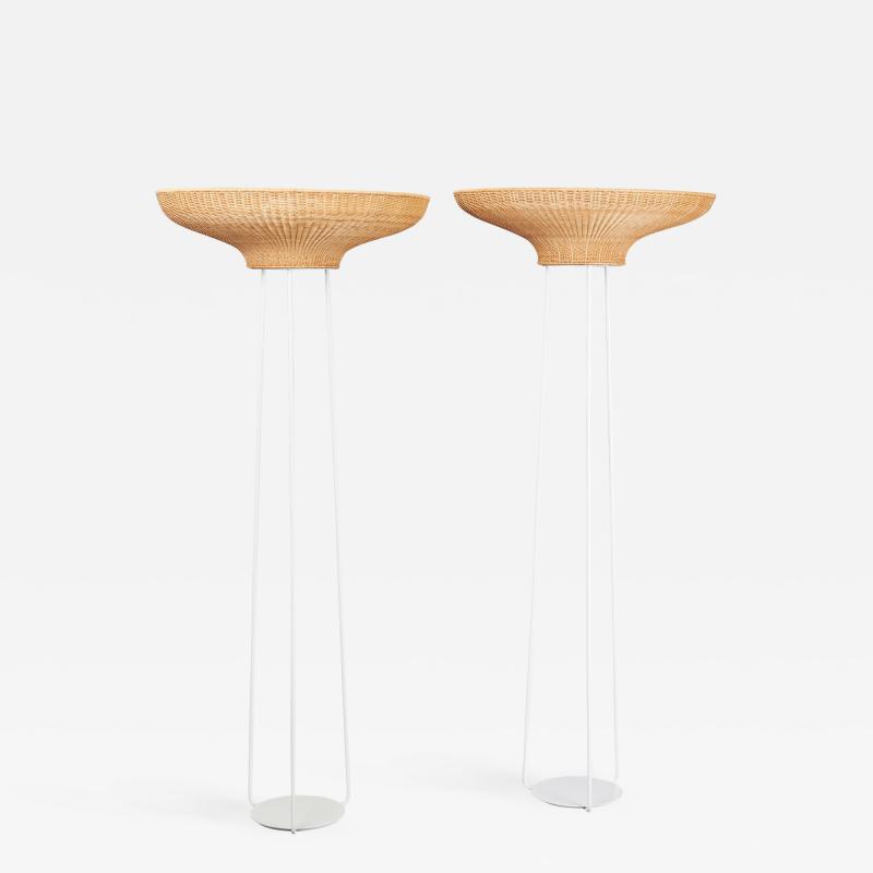 Pair of Stunning Floor Lamps in Woven Rattan