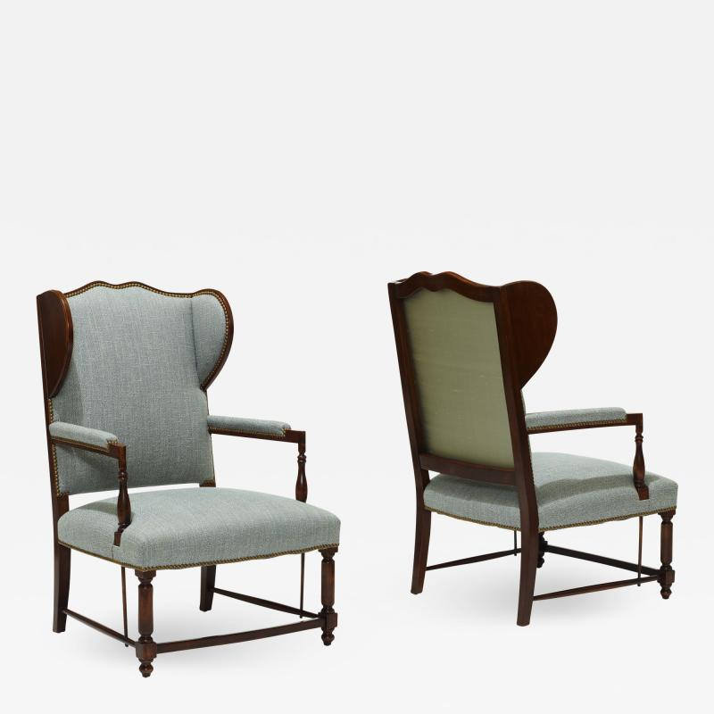 Pair of Swedish Art Deco Winged Back Armchairs