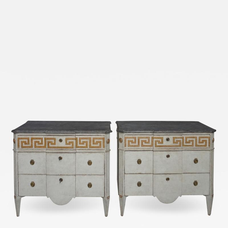 Pair of Swedish Neoclassical Commodes with Greek Key Detail