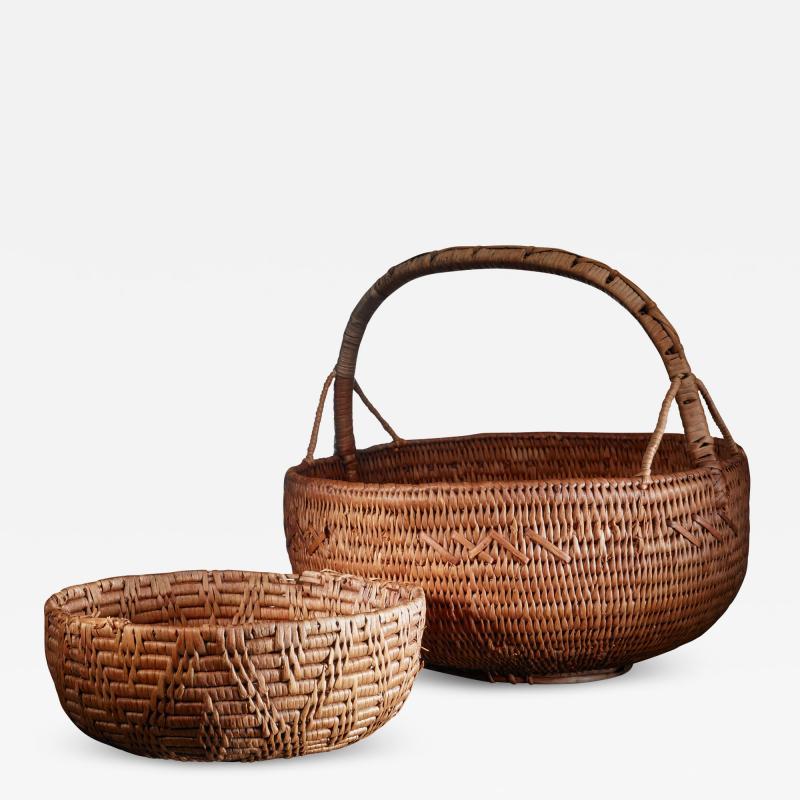 Pair of Swedish folk art baskets 19th Century