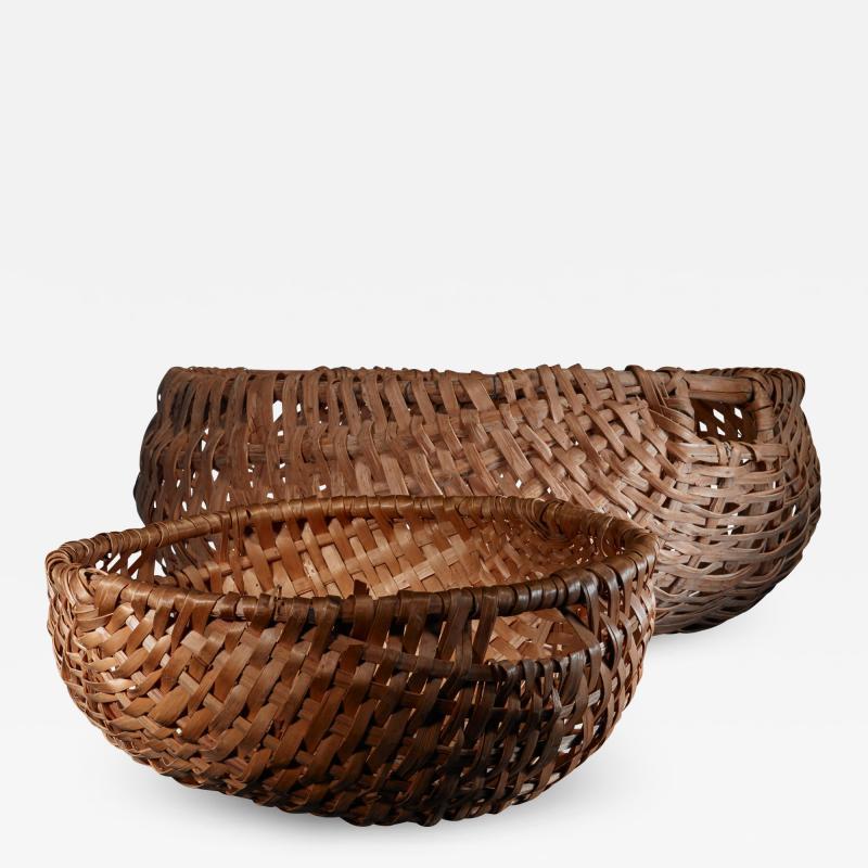Pair of Swedish woven folk art baskets 19th century