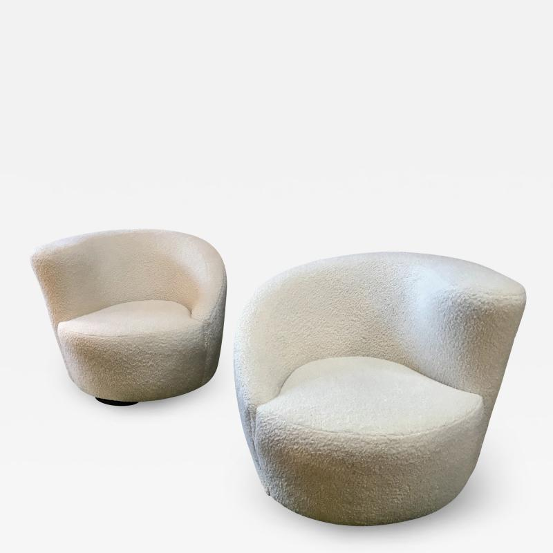 Pair of Swivel Parlor Chairs Upholstered in White Sheep Fabric USA 1960s
