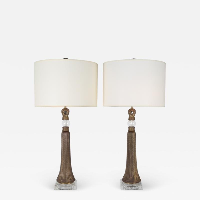 Pair of Table Lamps in Etched Bronze and Glass 1950s