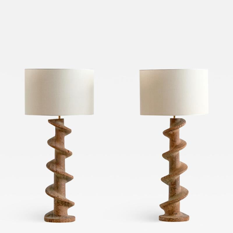 Pair of Table Lamps with Wooden Spiral Screw Base Belgium Late 19th Century