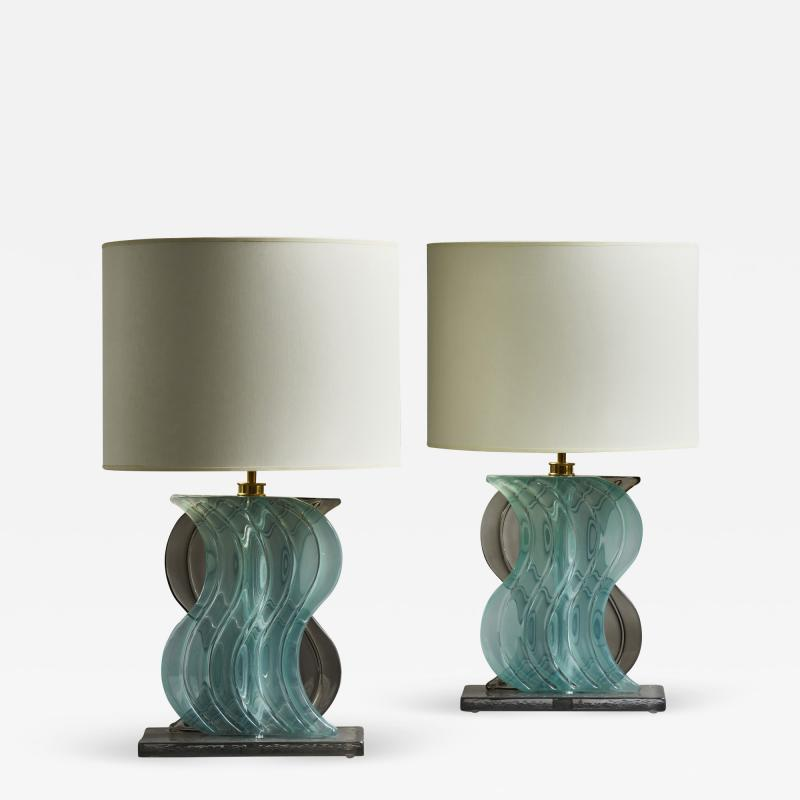 Pair of Teal and Grey Murano Glass Table Lamps