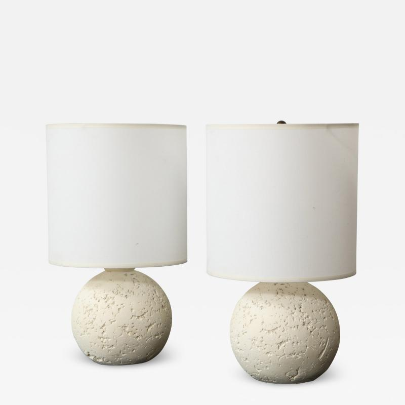 Pair of Textured Custom Circular Plaster Lamps