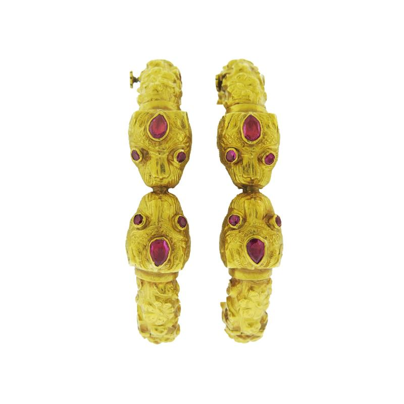 Pair of Tiger Gold Bracelets with Rubies