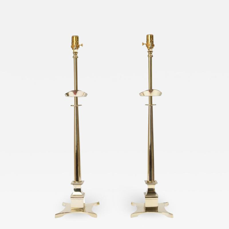 Pair of Tommi Parzinger Style Brass Lamps