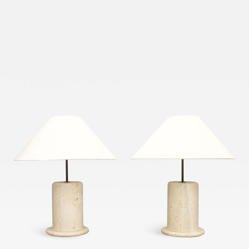 Pair of Travertine Table Lamps Italy 1970s