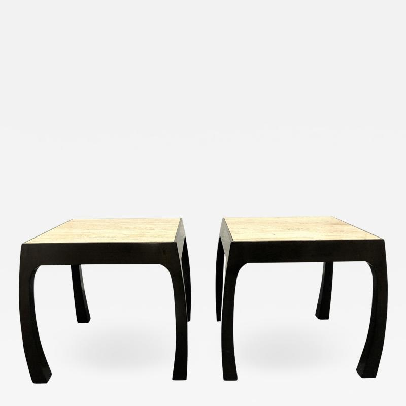 Pair of Travertine Top Asian Style End Tables