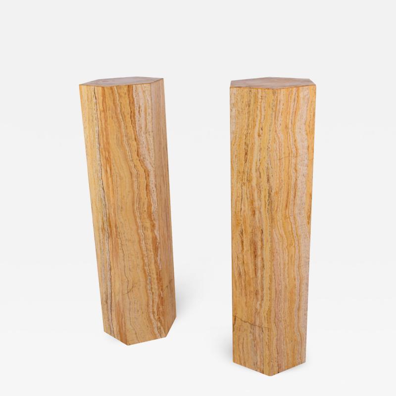 Pair of Travertine costume hexagonal pedestals