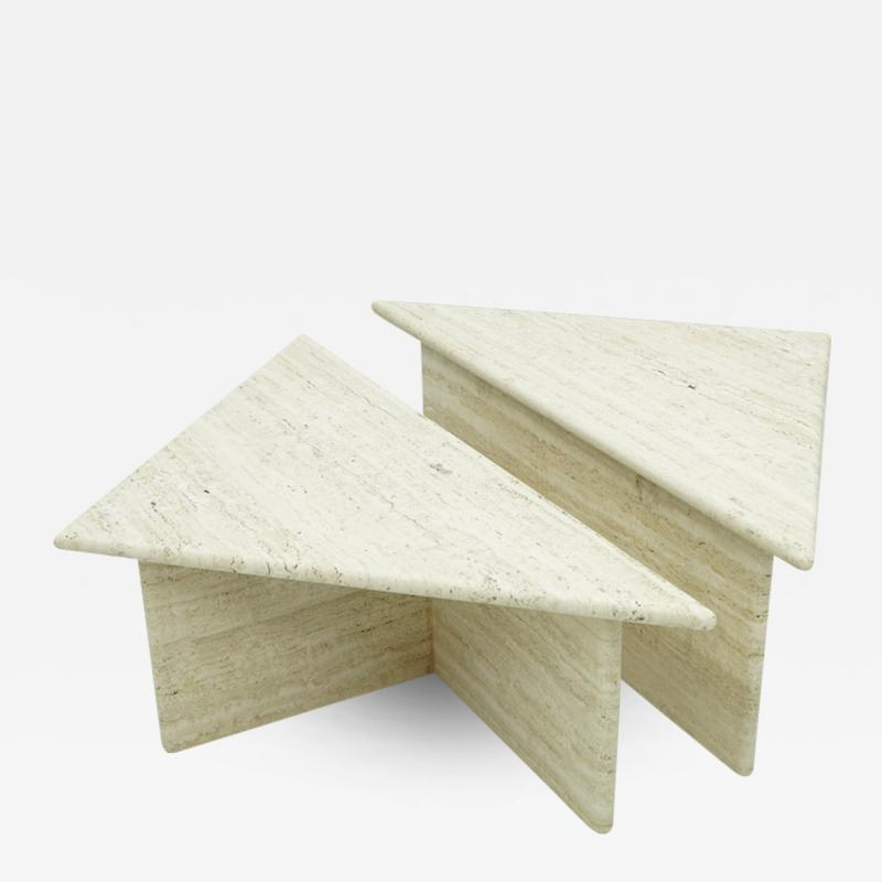 Pair of Triangular Travertine Side or Coffee Table Italy 1970s