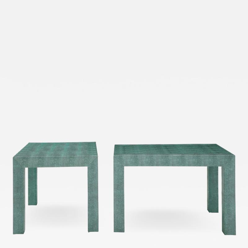Pair of Turquoise 1980s Aleather Wrapped Mid Century Side Table