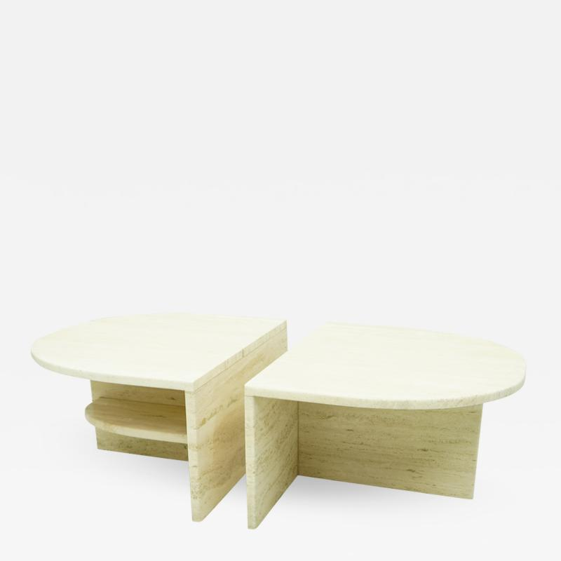 Pair of Twin Travertine Coffee Tables 1970s