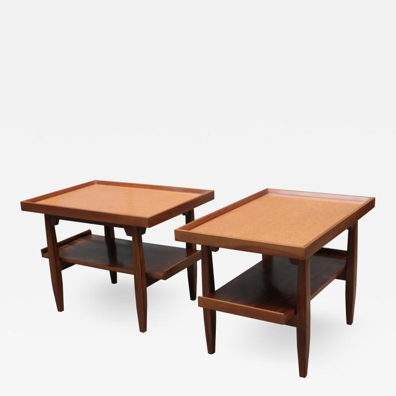 Pair of Two Tier Cork Top Side Tables