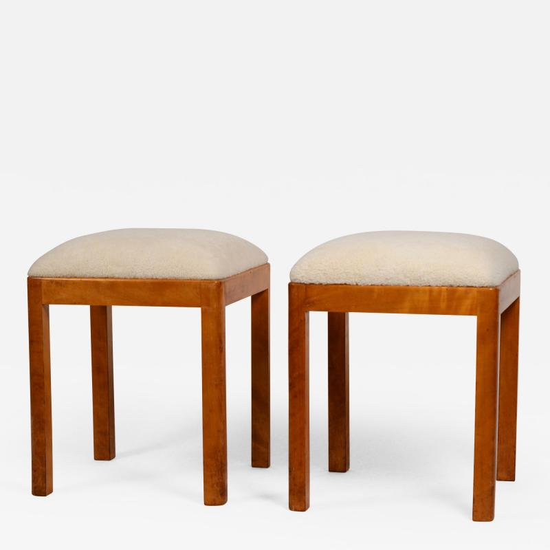Pair of Uber Chic German Art Deco Stools with Shearling Seats