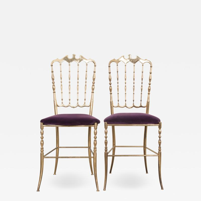 Pair of Vintage Italian Brass Opera Chairs