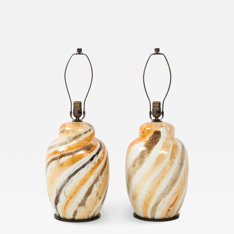 Pair of Vintage Italian Glazed Ceramic Table Lamps c 1970s