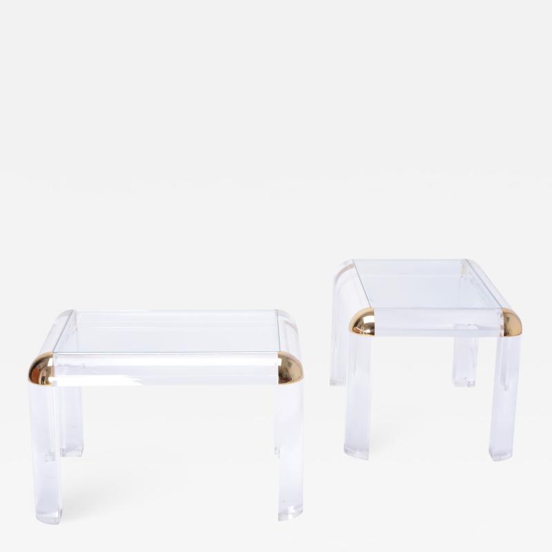 Pair of Vintage Lucite and Brass Coffee Tables