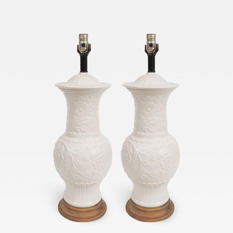 Pair of White Ceramic Lamps on Wooden Bases