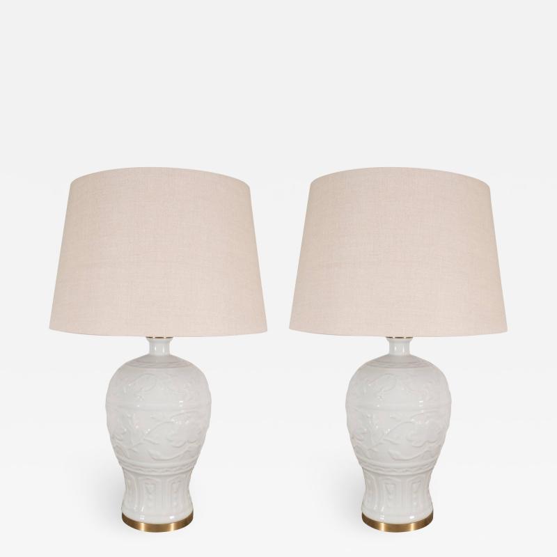 Pair of White Crackled Ceramic Lamps