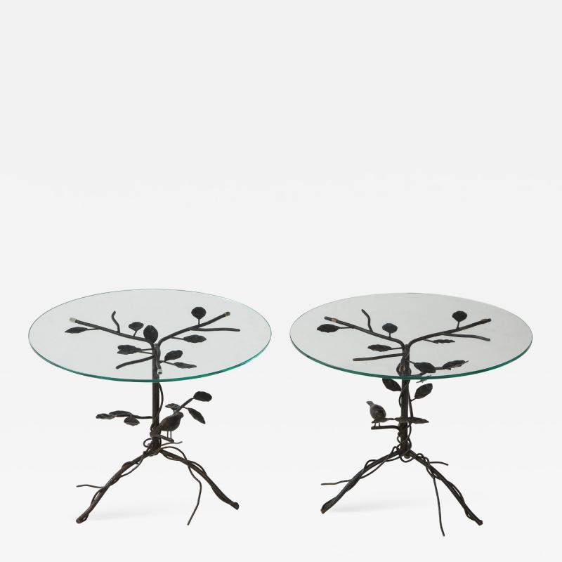 Pair of Wrought Iron End Tables