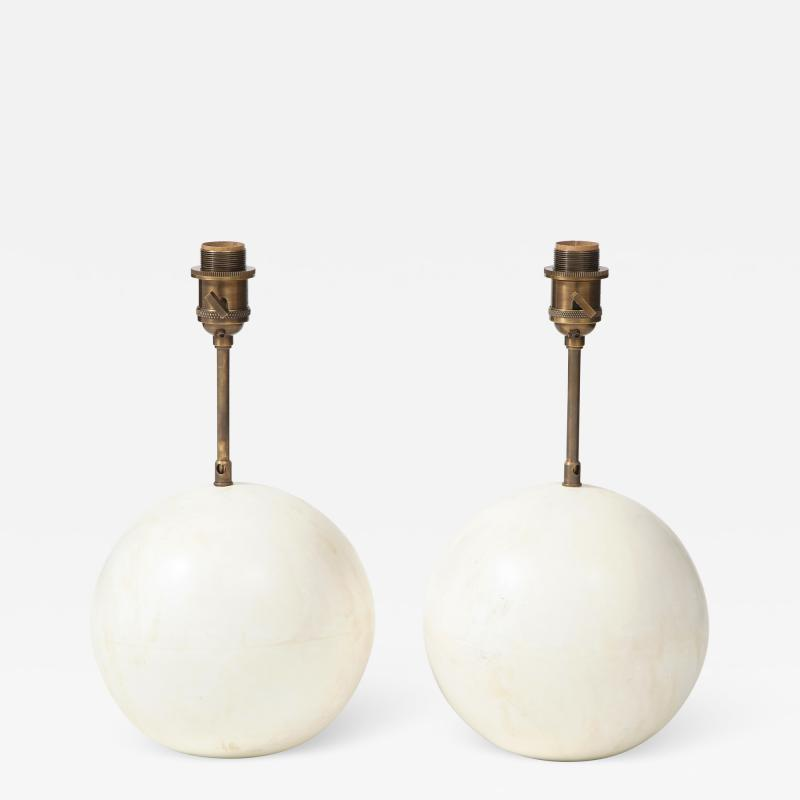 Pair of ball shaped plaster table lamps by Facto Atelier Paris France 2020