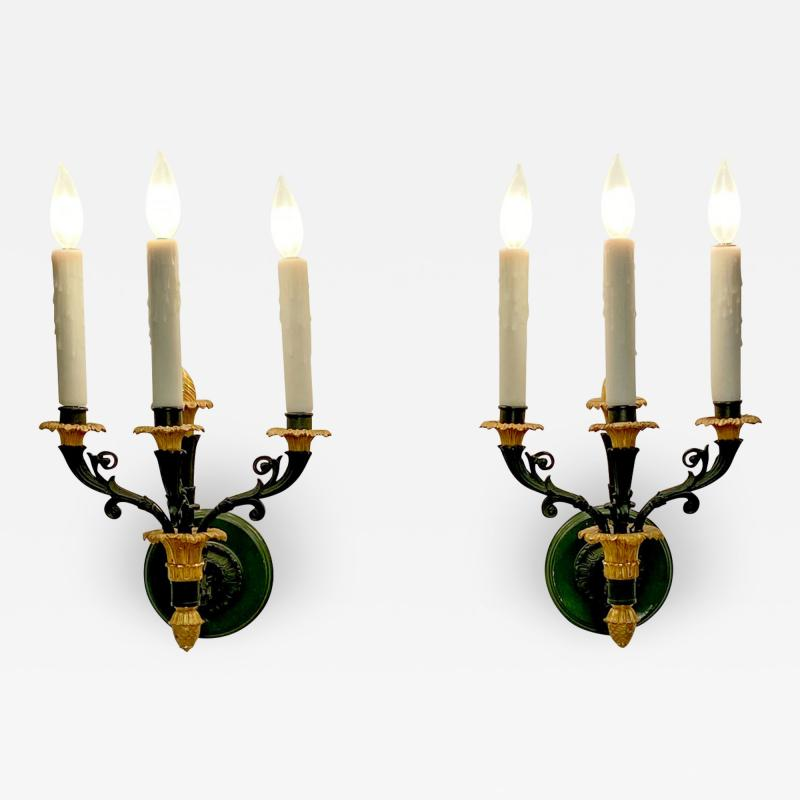 Pair of bronze and gilt bronze French Empire Style sconces circa 1920