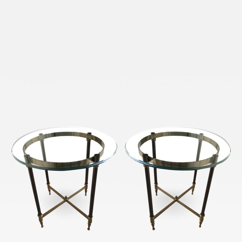 Pair of bronze pedestal tables with glass trays France 1960