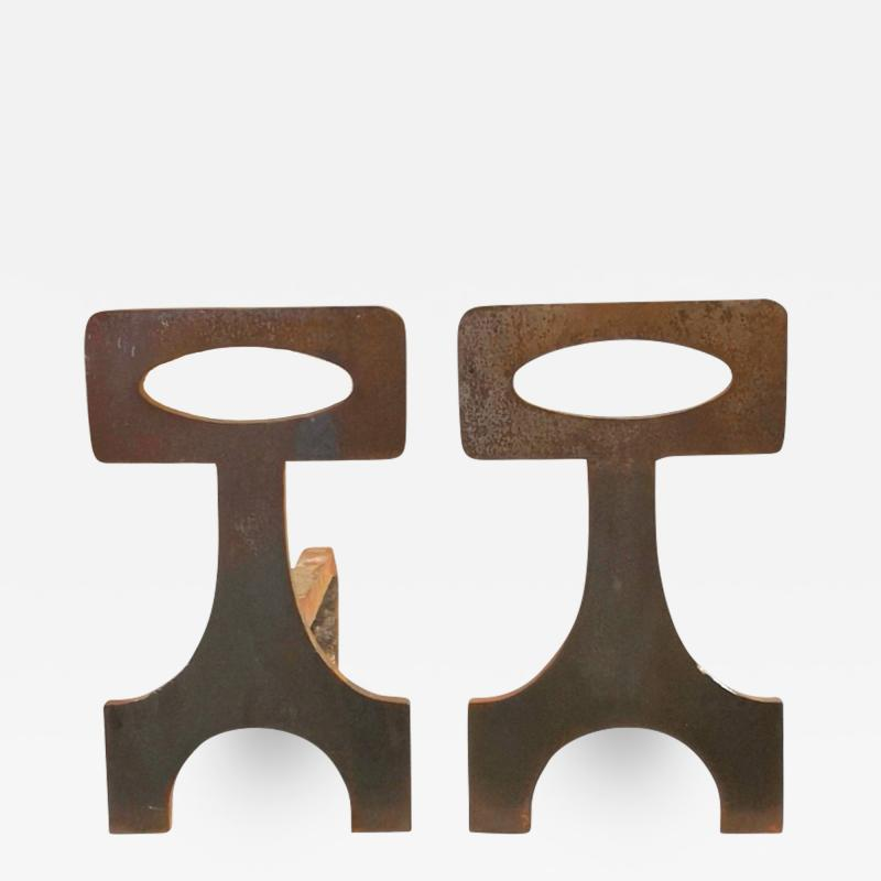 Pair of brutalist solid steel andirons France 1970s