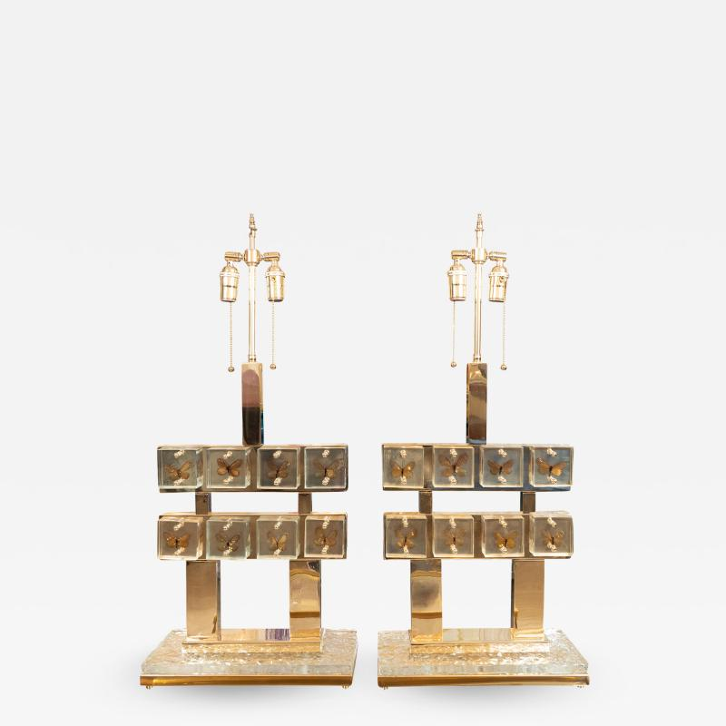Pair of butterfly gallery table lamps