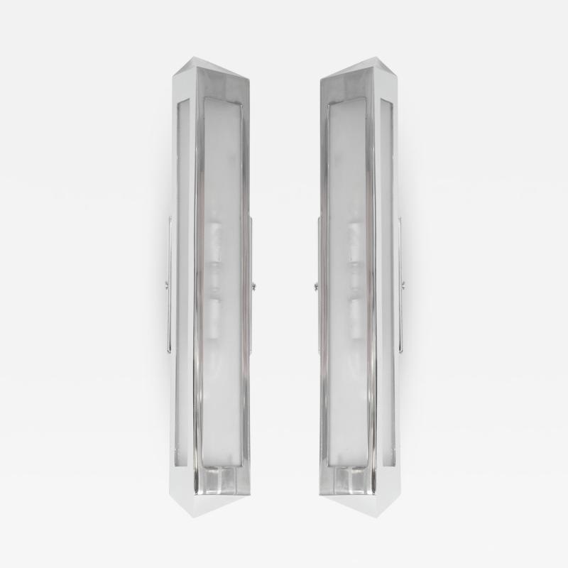 Pair of chrome prism sconces