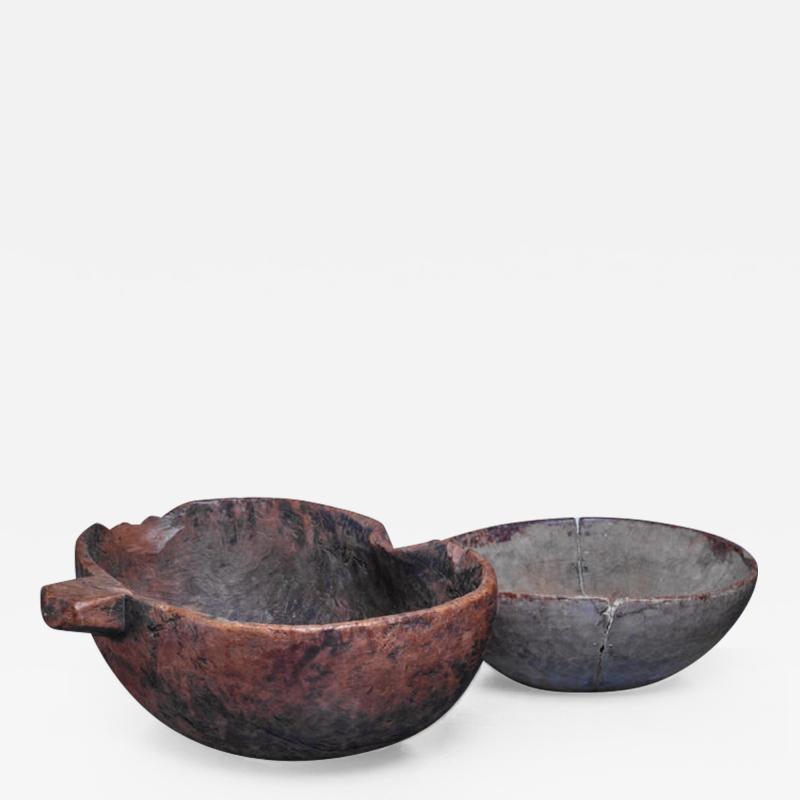 Pair of folk art wood bowls Sweden