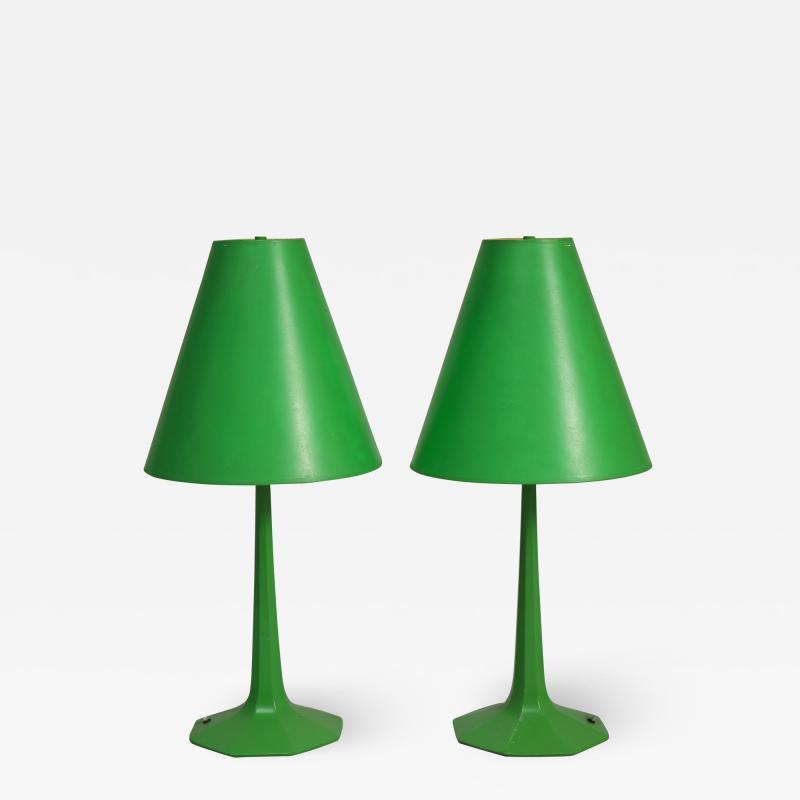 Pair of fun 1970s green lamps