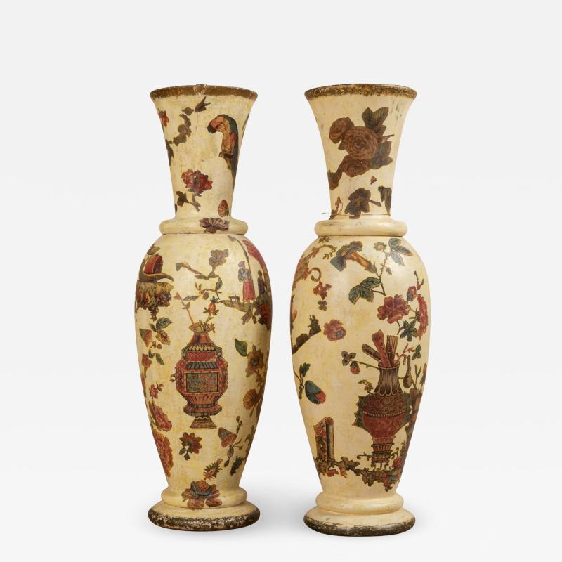Pair of italian 18th century arte povera vases