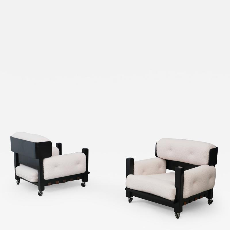 Pair of italian armchairs MidCentury in boucl fabric white and black wood 1960