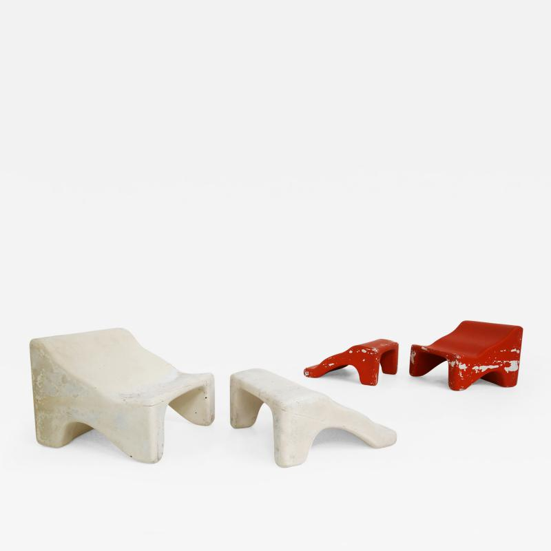 Pair of italian lounge chairs red and white by Cesare Augusto Nava 1970s