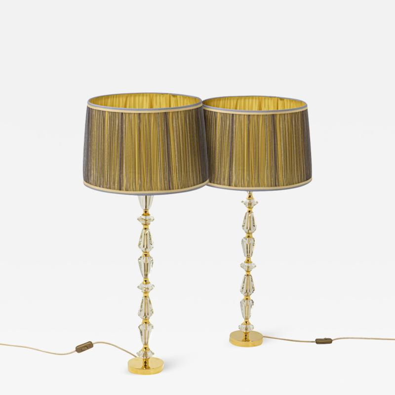 Pair of lamps in glass and gilt bronze 1940s