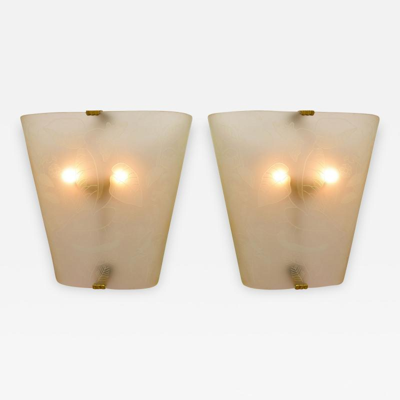 Pair of large Art Deco etched glass lights
