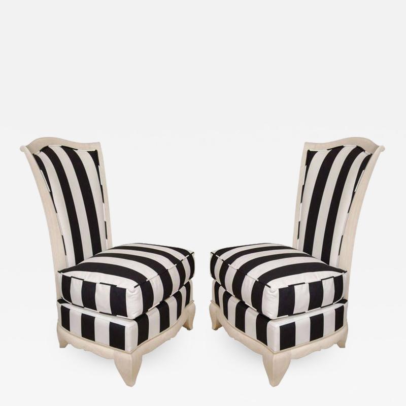 Pair of petite slipper chairs